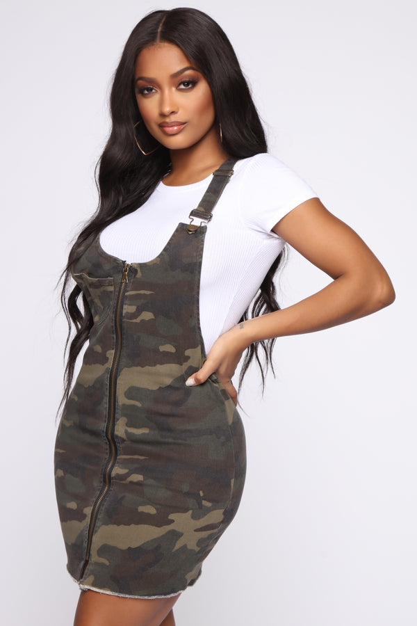 03813fcb0 Ellie Camo Zip Up Overall Dress - Olive