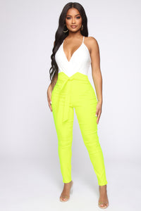 Knot Your Girl Pants - Neon Yellow Angle 1