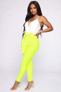 Knot Your Girl Pants - Neon Yellow Angle 3
