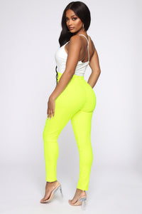 Knot Your Girl Pants - Neon Yellow Angle 5