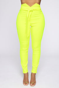 Knot Your Girl Pants - Neon Yellow Angle 2