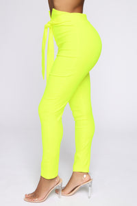 Knot Your Girl Pants - Neon Yellow Angle 4