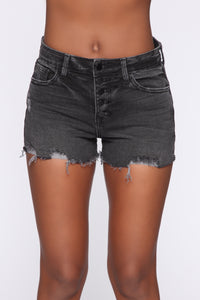 Talkin' Smack Distressed Denim Short - Black