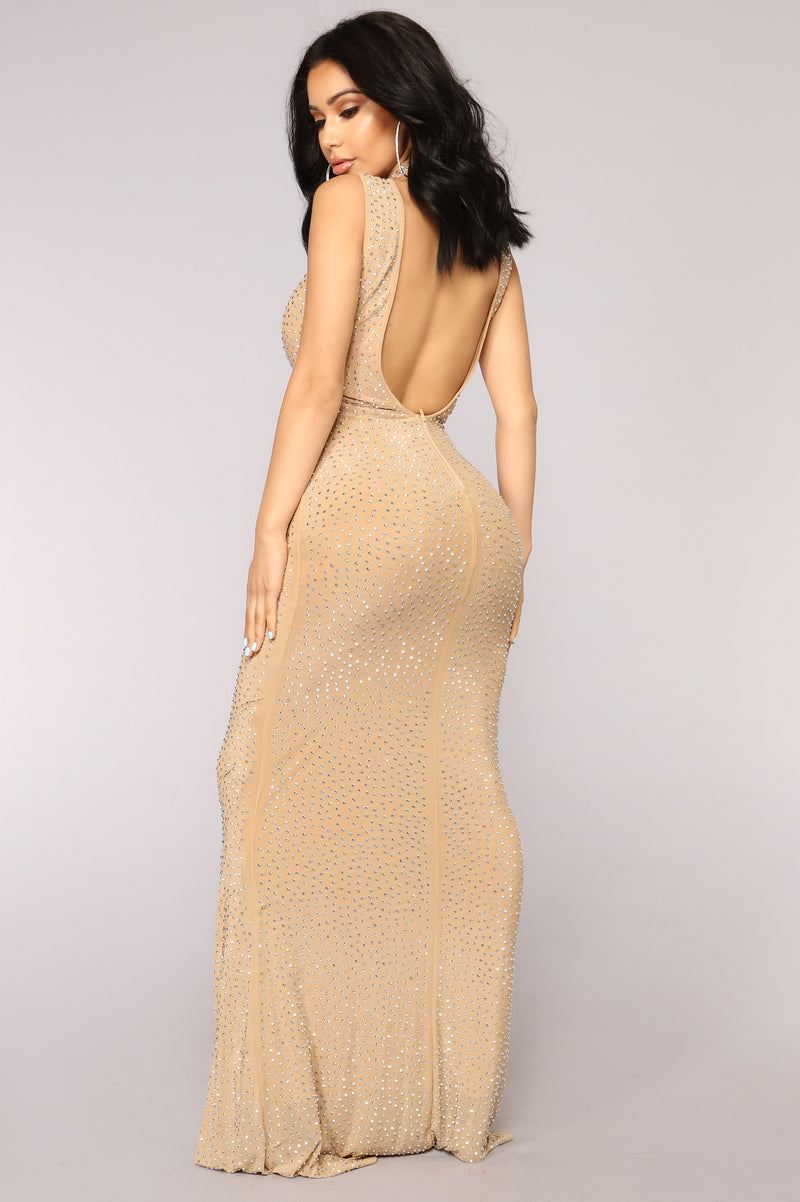 She's A Mystery Studded Dress - Nude