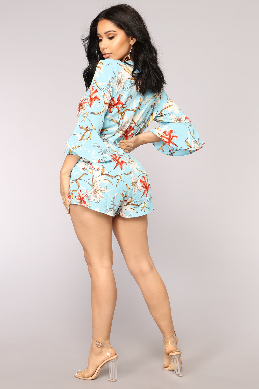 Moonlight Drive Tropical Romper - Blue