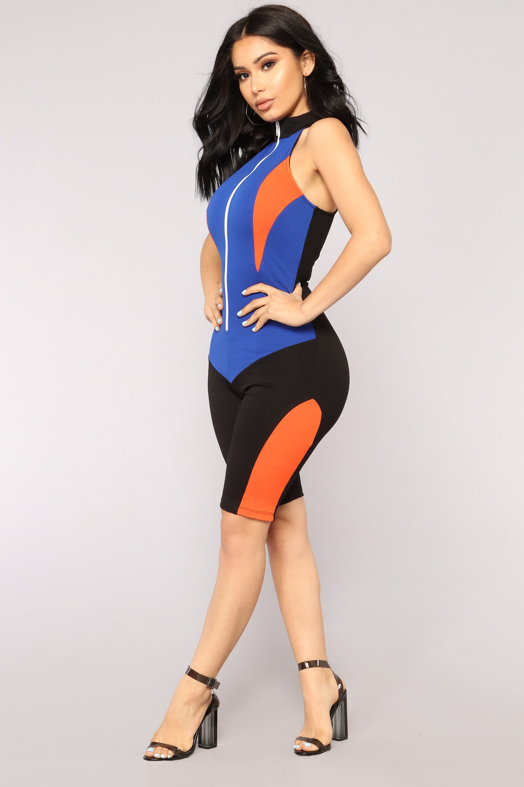 628b47b969de On The Throttle Colorblock Romper - Black Royal