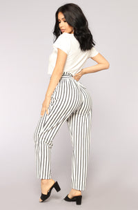 Line Em Up Pants - White/Black