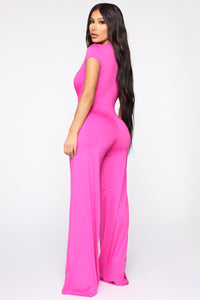 Join The Party Jumpsuit - Fuchsia