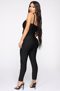 Get Into The Groove Bandage Jumpsuit - Black