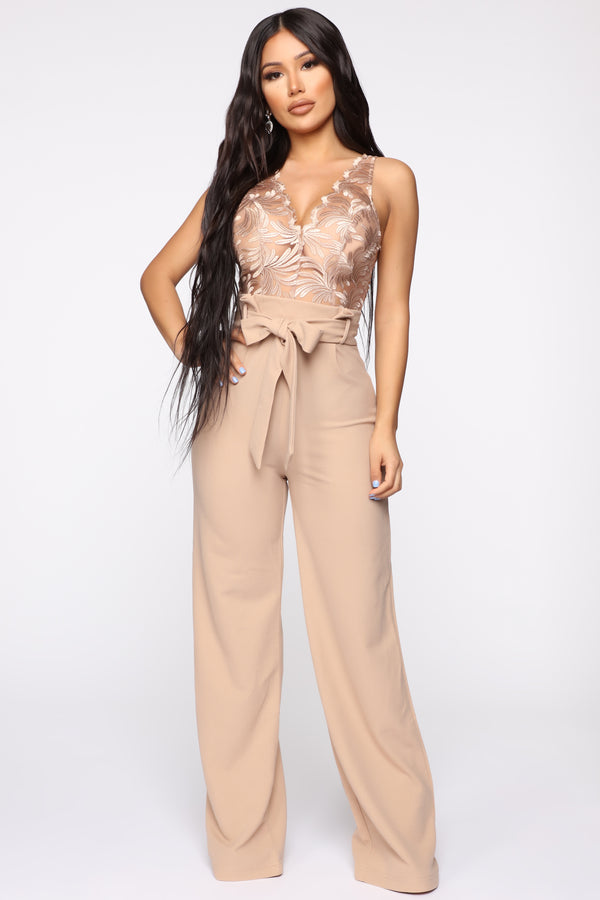 fd94900bc308 Hotel Bar Paperbag Waist Jumpsuit - Nude