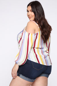 Buttoned Up Cold Shoulder Top - Red/combo
