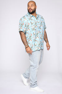 Floral On Me Short Sleeve Woven Top - Blue/combo