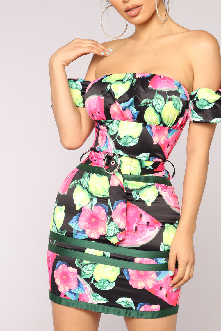 One In A Melon Dress - Black Multi