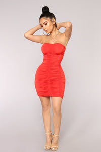 Heart's Beating Dress - Tomato Red