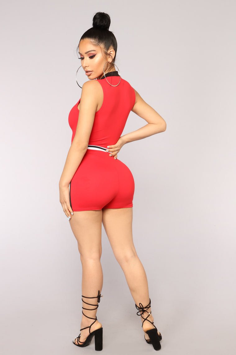 Now Or Never Romper - Red