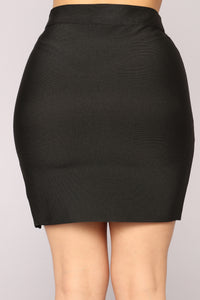 Felicity Bandage Lace Up Skirt - Black