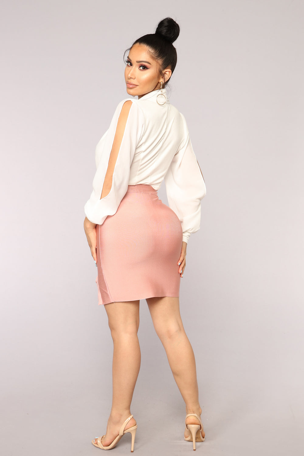Felicity Bandage Lace Up Skirt - Pink