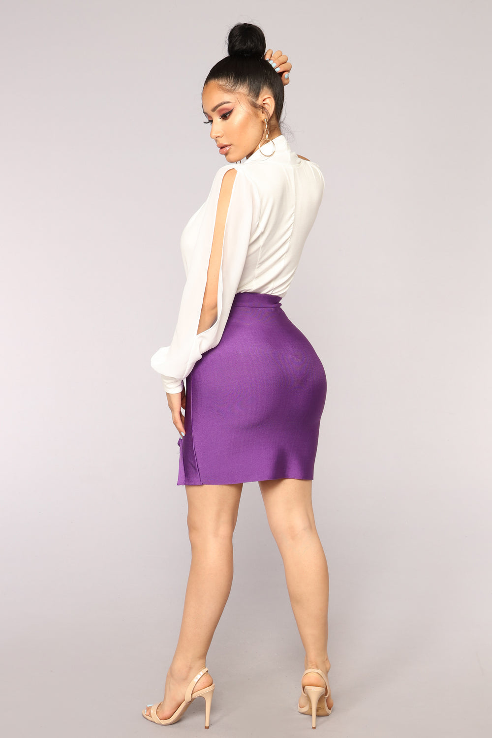 Felicity Bandage Lace Up Skirt - Purple