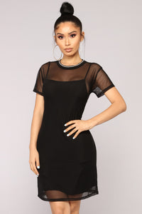 Spring To Action Mesh Dress - Black