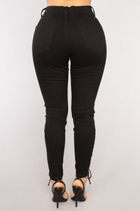 Back On Top Lace Up Jeans - Black