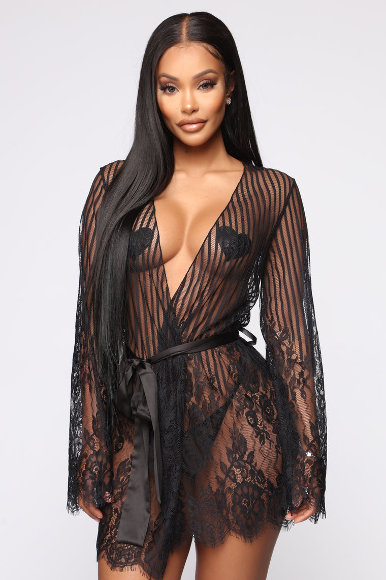 Romantic Evenings Lace Robe - Black