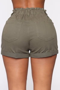 Always On My Mind Denim Shorts - Olive