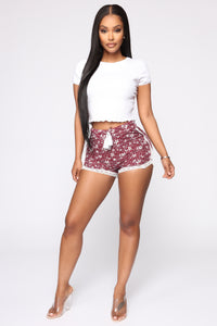 Missing You Everyday High Rise Printed Shorts - Burgundy