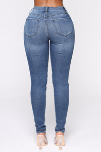 Symone Distressed Skinny Jeans - Medium Blue Wash