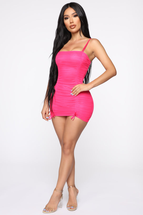 654b51a7f3 Vibrant Lifestyle Ruched Mini Dress - Neon Pink