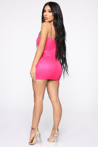 Vibrant Lifestyle Ruched Mini Dress - Neon Pink
