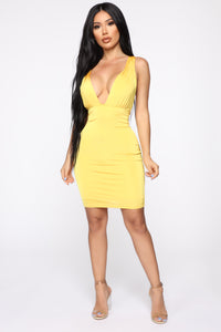 Watch Me Dip Mini Dress - Mango'd Yellow