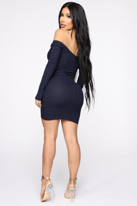 Pull Me In All Directions Ribbed Dress - Navy