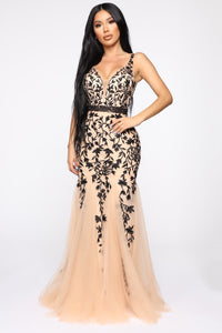 Over The Moon Floral Gown - Nude/Black