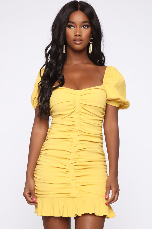 b782713ba Sweeter Than I Looked Ruched Mini Dress - Mustard
