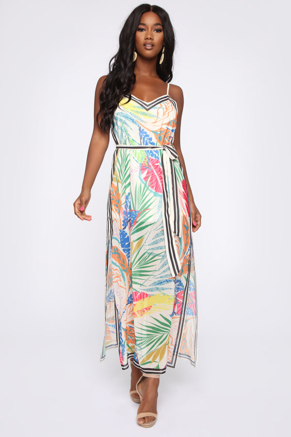 6592be468a All The Colors Tropical Maxi Dress - White combo