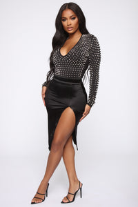 Studded Romance Bodysuit - Black