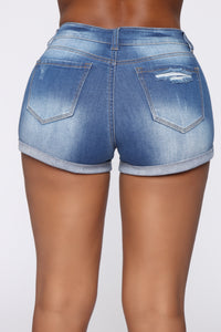 Quit Distressing Me Denim Shorts - Medium Blue Wash