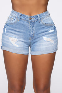 Baby Get Back Denim Shorts - Light Blue Wash