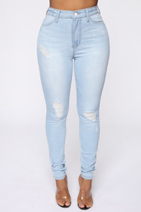 Emma Super Stretch High Rise Skinny Jean- Light Wash Angle 1