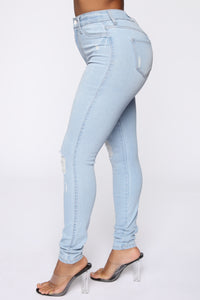 Emma Super Stretch High Rise Skinny Jean- Light Wash Angle 4