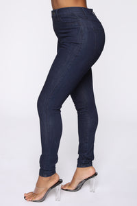 Emma Super Stretch High Rise Skinny Jean - Indigo Angle 4