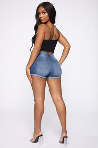 Double The Fun Denim Shorts - Medium Blue Wash