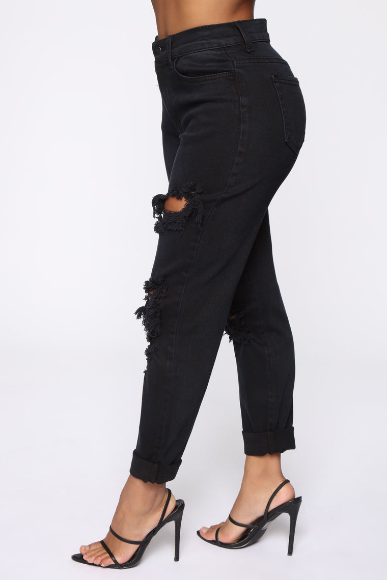 Won't Tolerate BS Boyfriend Jeans - Dark Denim