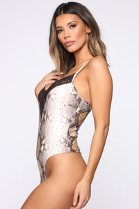Sneaking In Snake Bodysuit - Brown/Combo