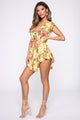 Fun In Floral Wrap Romper - Yellow/combo