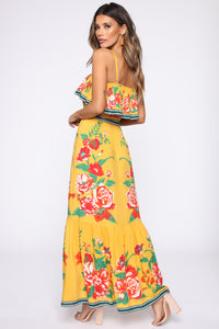 Floral Temptation Maxi Dress - Yellow/combo
