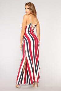 Brighton Maxi Dress - White/Red/Navy