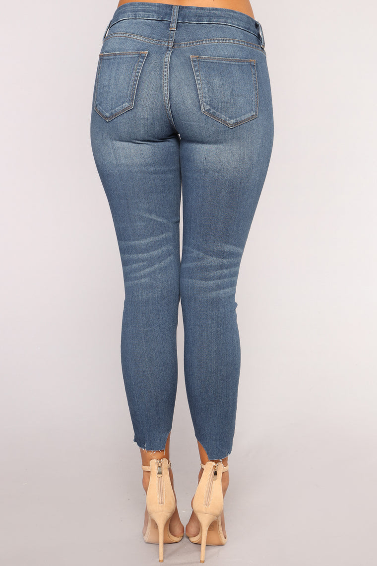 Unbalanced High Waist Jeans - Medium Blue Wash