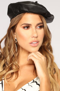 Parisian Leather Beret - Black