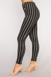 That's Just How I Feel Striped Pants - Black